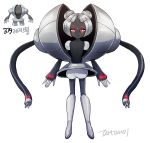 androgynous artist_name bangs black_skin blunt_bangs creature_and_personification creatures_(company) double_bun facial_mark forehead_mark full_body game_freak gen_3_pokemon glowing glowing_eyes grey_footwear looking_at_viewer nintendo parted_bangs personification pokemon pokemon_(creature) red_eyes registeel silver_hair simple_background smile solo standing tamtamdi white_background