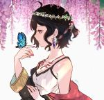 1girl bare_shoulders black_hair breasts bug butterfly cleavage earrings fire_emblem fire_emblem:_kakusei from_side head_wreath highres insect jewelry long_sleeves mark_(female)_(fire_emblem) mark_(fire_emblem) medium_breasts nail_polish nintendo parted_lips sasaki_(dkenpisss) short_hair signature solo upper_body violet_eyes