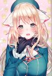 1girl animal_ears atago_(kantai_collection) beret black_gloves blonde_hair blue_headwear blush breasts cat_ears eyebrows_visible_through_hair gloves grey_eyes hair_between_eyes hat highres kantai_collection large_breasts long_hair long_sleeves looking_at_viewer military military_uniform open_mouth scan smile suzuho_hotaru uniform