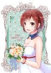 1girl 2019 bouquet braid brown_eyes brown_hair commentary date_pun detached_collar dress floral_background flower framed from_side hair_ribbon holding holding_bouquet kisaragitsubasa lipstick looking_at_viewer makeup meiko number_pun ribbon short_hair sleeveless sleeveless_dress smile solo upper_body vocaloid white_dress