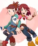 belt black_legwear broken_heart_print brown_eyes brown_hair commentary_request cosplay costume_switch crossover denim digimon digimon_tamers digimon_xros_wars hinomoto_akari jeans makino_ruki multiple_girls open_mouth overalls pants ponytail redhead shirt short_hair smile t_k_g thigh-highs twintails wristband yellow_eyes