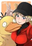 1girl :p arm_up artist_name blonde_hair blue_eyes border butcha-u creatures_(company) detective_pikachu_(movie) detective_pikachu_(series) eyelashes game_freak gen_1_pokemon hat looking_at_viewer lucy_stevens nintendo pokemon pokemon_(creature) ponytail psyduck smile tongue tongue_out upper_body v white_border