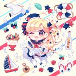 1girl ;d ahoge anchor_symbol animal bangs bird blonde_hair blue_bow blue_footwear blue_headwear blue_sailor_collar blush_stickers boat bottle bow brown_background chibi compass dress eyebrows_visible_through_hair food hair_bow hair_ornament hair_rings hat ice_cream ie_(nyj1815) lifebuoy long_hair mary_janes message_in_a_bottle neckerchief one_eye_closed open_mouth original red_eyes red_neckwear sailboat sailor_collar sailor_dress sandals seagull seashell shell shoes sleeveless sleeveless_dress smile solo star star_hair_ornament striped striped_bow thigh-highs tilted_headwear very_long_hair wafer_stick watercraft white_dress white_footwear white_legwear