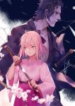 1boy 1girl absurdres ahoge black_bow black_hair black_kimono bow cherry_blossoms fate/grand_order fate_(series) hair_between_eyes hair_bow hakama_skirt height_difference highres hijikata_toshizou_(fate/grand_order) japanese_clothes katana kimono koha-ace looking_away looking_to_the_side okita_souji_(fate) okita_souji_(fate)_(all) pink_kimono purple_skirt red_eyes sheath short_hair skirt sword unsheathing virtu.al weapon wide_sleeves wind yellow_eyes
