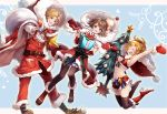 1boy blonde_hair breasts brown_hair christmas closed_eyes commentary_request final_fantasy final_fantasy_x gloves green_eyes midriff multiple_girls navel open_mouth rikku sasanomesi short_hair swimsuit thigh-highs tidus yuna