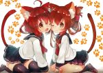 2girls ahoge animal_ears bandanna black_legwear blush brown_hair cat_ears cat_tail commentary_request hairband ikazuchi_(kantai_collection) inazuma_(kantai_collection) kantai_collection looking_at_viewer multiple_girls one_eye_closed paw_print pleated_skirt sailor_collar school_uniform serafuku short_hair skirt suzuho_hotaru tail thigh-highs twitter_username