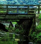 afloat blue_sky bridge canal commentary day film_grain harusameriburo highres no_humans original outdoors plant railing reflection silhouette sky symbol_commentary tree water wooden_bridge wooden_railing