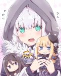 1boy 2girls @_@ add_(lord_el-melloi_ii) ahoge black_eyes black_hair black_suit blonde_hair blue_eyes blue_scarf blush character_doll cloak closed_mouth commentary_request creature cube demon_tail doll eyebrows_visible_through_hair fang fate/grand_order fate_(series) flower formal fur-trimmed_cloak fur_trim gray_(lord_el-melloi_ii) green_eyes grey_hair hair_between_eyes hair_flower hair_ornament hat holding holding_doll hood hood_up hooded_cloak long_hair looking_at_viewer lord_el-melloi_ii lord_el-melloi_ii_case_files mini_hat multiple_girls necktie neckwear open_mouth red_neckwear reines_el-melloi_archisorte rioshi rose scarf short_hair suit tail teeth waver_velvet white_flower white_rose