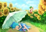 2girls ballpoint_pen_(medium) bare_shoulders barefoot blue_dress blue_hair bow cirno clouds dongfang_xian_gua_chaomian dress flower green_hair hat kazami_yuuka long_sleeves multiple_girls parasol plaid plaid_skirt plaid_vest red_eyes shirt short_hair skirt sleeping sunflower touhou traditional_media umbrella vest white_shirt wings yellow_neckwear