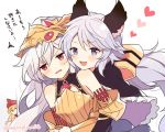 3girls :d armor athena_(granblue_fantasy) bangs bare_shoulders blonde_hair blush bodysuit braid breasts capelet commentary_request elbow_gloves eyebrows_visible_through_hair fang gauntlets gloves granblue_fantasy hair_between_eyes hair_ribbon head_tilt headpiece heart helmet hug hug_from_behind jitome lavender_hair leaning_on_person leaning_to_the_side long_hair looking_at_another looking_at_viewer looking_to_the_side low_twintails maru_(maruplum) medusa_(shingeki_no_bahamut) multiple_girls open_mouth peeking_out pointy_ears purple_hair red_eyes ribbon satyr_(granblue_fantasy) shingeki_no_bahamut slit_pupils small_breasts smile translation_request twin_braids twintails twitter_username upper_body very_long_hair violet_eyes