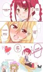 4girls 4koma aqua_hair artist_request blonde_hair blush brown_hair chocolate comic couple cowboy_hat embarrassed english_text food hat heart highres long_hair meifon_sakura multiple_girls pink_hair sagara_momoka shikishima_mirei tokonome_mamori valkyrie_drive valkyrie_drive_-mermaid- yuri