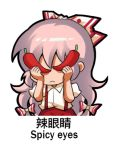 1girl bangs bow chinese_commentary chinese_text commentary_request covered_eyes english_text facing_viewer food fujiwara_no_mokou hair_bow hands_up holding holding_food long_hair lowres pants pink_hair puffy_short_sleeves puffy_sleeves red_pants red_pepper shangguan_feiying shirt short_sleeves simple_background solo suspenders touhou translation_request very_long_hair white_background white_bow white_shirt