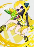 1girl :d bike_shorts black_footwear blonde_hair blush domino_mask fang glint headgear holding inkling long_hair long_sleeves mask nintendo open_mouth paint shichi_(ponpeex) shoes single_vertical_stripe smile solo sparkle splat_bomb_(splatoon) splatoon_(series) splattershot_(splatoon) squidbeak_splatoon suction_cups super_smash_bros. super_soaker tentacle_hair very_long_hair vest violet_eyes yellow_tongue yellow_vest