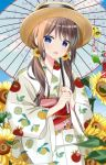 1girl :d bangs blue_eyes blue_sky blurry blurry_foreground blush brown_hair brown_headwear clouds commentary_request day depth_of_field eyebrows_visible_through_hair flower food_print hair_between_eyes hair_flower hair_ornament highres holding holding_umbrella japanese_clothes kimono lemon_print long_hair long_sleeves looking_at_viewer low_twintails obi open_mouth oriental_umbrella original outdoors print_kimono ryoutan sash sky smile snowflake_hair_ornament solo sunflower transparent transparent_umbrella twintails umbrella upper_body white_kimono wide_sleeves wind_chime yellow_flower