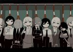 3girls 6+boys avogado6 bag bags_under_eyes black_bag black_eyes black_hair black_jacket black_neckwear black_pants black_skirt blank_stare book briefcase business_suit cellphone closed_mouth collared_shirt commentary_request empty_eyes flat_color formal gakuran grey_hair grey_jacket grey_pants grey_skirt hair_between_eyes hair_over_one_eye half-closed_eyes hand_up holding holding_bag holding_book holding_briefcase holding_clothes holding_jacket holding_phone jacket jacket_removed letterboxed limited_palette long_hair long_sleeves looking_at_viewer looking_away looking_down low_ponytail messy_hair multiple_boys multiple_girls necktie no_mouth no_pupils noose object_hug original pants phone reading school_bag school_uniform shadow shirt short_hair shoulder_bag skirt skirt_set skirt_suit smartphone spot_color suit train_interior translated v_arms white_bag white_eyes white_hair white_shirt wing_collar