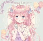 1girl :o ahoge aqua_background azarashi6 bangs bird blue_bow blue_eyes blush bow bunny_hair_ornament chick commentary dress easter easter_egg egg eyebrows_visible_through_hair flower hair_bow hair_ornament highres holding_egg lace_background light_particles long_hair neck_ribbon original pinafore_dress pink_bow pink_hair puffy_short_sleeves puffy_sleeves purple_dress purple_flower ribbon shiny shiny_hair shirt short_sleeves solo tareme two_side_up upper_body white_ribbon white_shirt