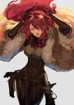 1girl absurdres bow breasts closed_eyes evoker fur_trim gloves hair_over_one_eye highres kirijou_mitsuru large_breasts long_hair ormille persona persona_3 persona_4:_the_ultimate_in_mayonaka_arena rapier redhead ribbon solo sword weapon