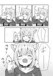 ... 1girl :d absurdres ahoge animal_ear_fluff animal_ears bangs blush blush_stickers bottle breasts cat_ears cat_girl choker closed_eyes closed_mouth collarbone comic drinking eyebrows_visible_through_hair greyscale hair_between_eyes highres holding holding_bottle hololive hood hood_down hoodie monochrome nekomata_okayu open_mouth seramikku sidelocks small_breasts smile spoken_ellipsis translation_request v-shaped_eyebrows virtual_youtuber wavy_mouth