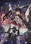 1girl agatsuma_kaede alice_gear_aegis animal_ears bangs black_eyes black_hair buttons debris explosion eyebrows_visible_through_hair fake_animal_ears headgear highres holding holding_sword holding_weapon katana looking_at_viewer mecha mecha_musume miniskirt red_skirt robot sheath skirt smile solo space sunga2usagi sword weapon