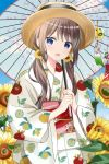 1girl :d bangs blue_eyes blue_sky blurry blurry_foreground blush brown_hair brown_headwear clouds commentary_request day depth_of_field eyebrows_visible_through_hair flower food_print hair_between_eyes hair_flower hair_ornament highres holding holding_umbrella japanese_clothes kimono lemon_print long_hair long_sleeves looking_at_viewer low_twintails obi open_mouth oriental_umbrella original outdoors print_kimono revision ryoutan sash sky smile snowflake_hair_ornament solo sunflower transparent transparent_umbrella twintails umbrella upper_body white_kimono wide_sleeves wind_chime yellow_flower