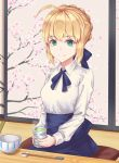 1girl ahoge artoria_pendragon_(all) blonde_hair blue_ribbon blue_skirt braided_bun chopsticks collared_shirt cup fate/stay_night fate_(series) green_eyes hair_ribbon highres holding holding_cup indoors looking_at_viewer neck_ribbon ribbon saber shirt short_hair sitting skirt smile solo tea user_wye9686 white_shirt wing_collar