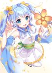 1girl :d absurdres bangs bare_shoulders blue_eyes blue_hair blue_sleeves blurry blurry_foreground blush brown_footwear cherry_blossoms commentary_request copyright_request depth_of_field detached_sleeves eyebrows_visible_through_hair flower frilled_skirt frills hair_flower hair_ornament hands_up highres holding hoshino_yura long_hair long_sleeves obi open_mouth orange_flower pantyhose petals pleated_skirt ribbon-trimmed_sleeves ribbon_trim sash shirt shoes sidelocks skirt sleeveless sleeveless_shirt smile solo twintails very_long_hair white_background white_legwear white_shirt white_skirt wide_sleeves