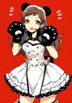 1girl :d animal_ears bear_ears bear_tail black_gloves breasts brown_eyes brown_hair cleavage cowboy_shot dress eyebrows_visible_through_hair fake_animal_ears fake_tail gloves grey_sleeves hairband headset idolmaster idolmaster_million_live! kitazawa_shiho layered_dress long_hair looking_at_viewer medium_breasts microphone open_mouth paw_gloves paws polka_dot polka_dot_dress red_background short_dress short_sleeves shrug_(clothing) simple_background sleeveless sleeveless_dress smile solo standing strapless strapless_dress tail touon very_long_hair white_dress white_hairband