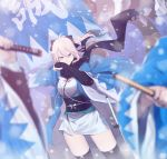ahoge blood blood_from_mouth blurry_foreground cowboy_shot faceless faceless_male fate_(series) flag haori highres japanese_clothes katana koha-ace kurogiri obi okita_souji_(fate) okita_souji_(fate)_(all) sash scarf shinsengumi smile snow sword thigh-highs thighs weapon wide_sleeves wind wiping_face