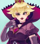 blonde_hair breasts cape crown dress earrings elbow_gloves freekaboo-art gloves high_collar highres jewelry lipstick looking_to_the_side makeup mario_(series) nintendo paper_mario:_the_thousand_year_door princess_peach purple_dress purple_gloves red_lipstick shadow_queen smile violet_eyes