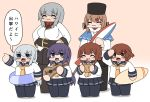 6+girls akatsuki_(kantai_collection) beach_umbrella belt black_bow black_headwear black_legwear black_skirt blue_eyes blue_shawl blush bokota_(bokobokota) bow brown_eyes brown_hair chibi closed_eyes closed_mouth comic commentary_request eyebrows_visible_through_hair facial_scar gangut_(kantai_collection) gradient gradient_background grey_hair guitar hair_between_eyes hair_bow hair_ornament hairclip hibiki_(kantai_collection) ikazuchi_(kantai_collection) inazuma_(kantai_collection) instrument jacket kantai_collection lifebuoy long_hair long_sleeves low_twintails messy_hair military military_uniform multiple_girls neckerchief open_mouth pantyhose papakha pleated_skirt purple_hair red_shirt sailor_collar scar scar_on_cheek scarf school_uniform serafuku shawl shirt short_hair silver_hair skirt smile star tashkent_(kantai_collection) thigh-highs torn_scarf translation_request twintails umbrella uniform violet_eyes white_jacket white_scarf yellow_neckwear
