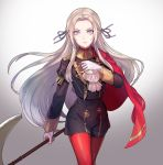 1girl axe blonde_hair blue_eyes cape cravat edelgard_von_hresvelgr_(fire_emblem) fire_emblem fire_emblem:_fuukasetsugetsu gloves hair_ornament highres kokouno_oyazi long_hair looking_at_viewer nintendo pantyhose red_cape ribbon simple_background smile solo uniform weapon white_background