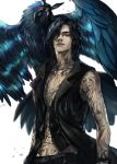 1boy bare_shoulders belt bird black_belt black_coat black_eyes black_hair black_pants black_vest closed_mouth coat collared_vest commentary crow devil_may_cry_5 full_body_tattoo griffon_(devil_may_cry_5) haban_(haban35) hair_over_one_eye highres jewelry looking_at_viewer male_focus medium_hair necklace open_clothes open_coat pants simple_background sleeveless sleeveless_coat smile standing tattoo v_(devil_may_cry) vest white_background