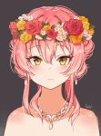 1girl bangs bare_shoulders brown_eyes closed_mouth collarbone commentary_request earrings eyebrows_visible_through_hair flower flower_wreath goyain grey_background hair_between_eyes head_wreath highres idolmaster idolmaster_cinderella_girls idolmaster_cinderella_girls_starlight_stage jewelry jougasaki_mika long_hair looking_at_viewer pink_hair red_flower red_rose rose sidelocks signature simple_background solo upper_body white_flower yellow_flower yellow_rose