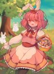 absurdres alternate_costume animal_ears basket blue_sky catys chibi d: dress easter easter_egg egg eyebrows_visible_through_hair eyes_visible_through_hair frilled_skirt frilled_sleeves frills grass hair_ribbon highres kijin_seija long_sleeves looking_at_viewer open_mouth pink_dress pink_hair pink_vest puffy_long_sleeves puffy_sleeves rabbit_ears red_eyes ribbon skirt sky sukuna_shinmyoumaru thigh-highs touhou tree vest
