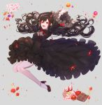 1girl :d arms_up artist_name bangs black_dress black_hair blush bow breasts cake chocolate commission dress floating_hair food frills fruit full_body gothic_lolita high_heels horns jumping lolita_fashion long_hair looking_at_viewer medium_breasts multicolored_hair open_mouth orange original peach red_eyes redhead ribbon smile solo strawberry streaked_hair tr6247 very_long_hair waffle wide_sleeves