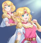 1girl absurdres alternate_hair_length alternate_hairstyle bead_necklace beads blonde_hair blue_eyes bracer cape circlet dress forehead_jewel grimmelsdathird highres jewelry necklace nintendo pointy_ears princess_zelda short_hair smile solo super_smash_bros. the_legend_of_zelda the_legend_of_zelda:_a_link_between_worlds tiara triforce tunic