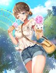 1girl bag bare_shoulders blue_eyes blue_sky blurry blush breasts brown_hair clouds cloudy_sky collarbone commentary_request cowboy_shot day denim denim_shorts depth_of_field ferris_wheel food giving hair_bun hair_ribbon highres holding holding_food ice_cream ice_cream_day looking_at_viewer medium_breasts meisuke_mei midriff_peek off-shoulder_shirt off_shoulder one_eye_closed original outdoors outstretched_arm ribbon shirt short_hair short_shorts shorts shoulder_bag sidelocks sky solo standing thighs tongue tongue_out tree white_shirt yellow_ribbon