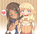 2girls absurdres ahagon_umiko artist_request at_gunpoint bangs blonde_hair blue_eyes brown_hair dark_skin eyebrows_visible_through_hair finger_on_trigger gun gun_to_head hair_ornament handgun heart highres holding holding_gun holding_weapon long_hair multiple_girls new_game! open_mouth overalls pistol sakura_nene smile spoken_heart twintails weapon yuri