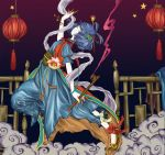 1girl adapted_costume ankle_ribbon bell blue_eyes blue_hair blue_pants bracelet chinese_clothes claws clouds coat dress eyeshadow feathers flats flower from_side full_body hagoromo hair_feathers hair_ornament hair_rings hair_stick hand_up holding holding_pipe jewelry jingle_bell jpeg_artifacts kaku_seiga lantern leaning_back leg_up long_dress makeup pale_skin pants peacock_feathers pipe poppy_(flower) puffy_short_sleeves puffy_sleeves purple_background ranko_no_ane red_coat ribbon sash shawl shoes short_hair short_sleeves sleeveless_coat smile smoke solo star tassel touhou yellow_sclera