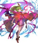 cape chiki dress fire_emblem fire_emblem:_monshou_no_nazo fire_emblem_heroes full_body green_hair highres jewelry long_hair mamkute nintendo official_art pink_dress pointy_ears red_eyes shoes short_dress solo tiara transparent_background