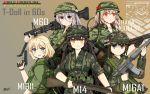 5girls 60s absurdres assault_rifle battle_rifle camouflage character_name commentary_request girls_frontline gun handgun hat helmet highres huge_filesize ithaca_m37 ithaca_m37_(girls_frontline) m14 m14_(girls_frontline) m16 m16a1 m16a1_(girls_frontline) m1911 m1911_(girls_frontline) m60 m60_(girls_frontline) military military_hat military_uniform multiple_girls oldschool rifle shotgun toramaru-913 uniform vietnam_war weapon