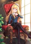 >:) 1girl absurdres armchair bangs black_legwear black_skirt blonde_hair blue_coat blue_eyes blurry blurry_foreground blush chair closed_mouth commentary_request cup day depth_of_field eyebrows_visible_through_hair fate_(series) feet_out_of_frame hat highres holding holding_cup holmemee indoors layered_skirt long_hair long_sleeves lord_el-melloi_ii_case_files no_shoes on_chair pantyhose pleated_skirt reines_el-melloi_archisorte sitting skirt smile solo sunlight teacup tile_floor tiles tilted_headwear v-shaped_eyebrows very_long_hair white_headwear window