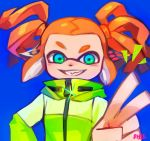 1girl artist_name blue_background blue_eyes domino_mask glint green_eyes grin headgear highres inkling jacket long_sleeves mask multicolored multicolored_eyes ohil_(ohil822) orange_hair short_hair smile solo sparkle splatoon splatoon_(series) splatoon_2 squidbeak_splatoon suction_cups tentacle_hair twintails v