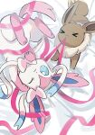 >_< anzu_(01010611) blue_eyes closed_mouth eevee frown highres lying mouth_hold no_humans on_back one_eye_closed pokemon pokemon_(creature) pulling ribbon sylveon symbol-only_commentary toes