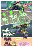 +_+ 3girls aori_(splatoon) collar commentary cousins domino_mask earrings english_text food food_on_head gas_mask gloves green_eyes green_hair highres holding holding_umbrella hotaru_(splatoon) japanese_clothes jewelry kimono layered_clothing layered_kimono long_hair long_sleeves mask midriff mole mole_under_eye multiple_girls obi object_on_head open_mouth oriental_umbrella pointy_ears role_reversal sash short_hair spiked_collar spikes splatoon splatoon_(series) splatoon_2 squid squidbeak_splatoon standing sushi tentacle_hair umbrella wong_ying_chee