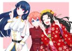 3girls arm_holding bangs belt black_hair blue_eyes blunt_bangs bun_cover chinese_clothes chyoling closed_eyes cravat double_bun double_v gintama grin hair_between_eyes hair_ornament hand_gesture haori hime_cut imai_nobume japanese_clothes kagura_(gintama) kimono long_hair long_sleeves multiple_girls open_mouth orange_hair short_hair simple_background smile tokugawa_soyo uniform v violet_eyes wide_sleeves