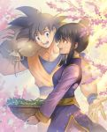 1boy 1girl :d bangs basket black_eyes black_hair branch carrying carrying_bag carrying_over_shoulder cherry_blossoms chi-chi_(dragon_ball) china_dress chinese_clothes couple dappled_sunlight day dougi dragon_ball dragonball_z dress eyebrows_visible_through_hair fingernails flower hair_bun hetero holding holding_basket leaf libeuo_(liveolivel) light_smile looking_at_another looking_away open_mouth outdoors pink_flower profile smile son_gokuu spiky_hair sunlight teeth tied_hair tree_branch twitter_username upper_body wristband