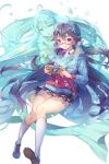 1girl :o ahoge aiolos_(soccer_spirits) alternate_form aqua_eyes badge black_hair blue_bow blue_jacket bow button_badge cellphone flower glasses hair_bobbles hair_ornament highres holding holding_phone hologram jacket kneehighs licking_lips long_hair long_sleeves looking_at_viewer multiple_girls official_art petals phone plaid plaid_skirt pocket pointy_ears red-framed_eyewear shoes skirt smartphone sneakers soccer_spirits striped striped_bow tongue tongue_out very_long_hair white_hair white_legwear x_hair_ornament yeonwa