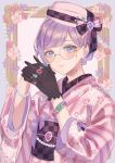 1girl amethyst_(gemstone) anoa bangs bead_bracelet beads black_gloves black_ribbon blue_eyes blush bracelet checkered closed_mouth colored_eyelashes emerald_(gemstone) eyebrows_visible_through_hair floral_print gem glasses gloves hat hat_ribbon highres japanese_clothes jewelry kimono looking_at_viewer obi original own_hands_together picture_frame pink_headwear pink_kimono print_kimono purple_hair ribbon ring round_eyewear ruby_(gemstone) sapphire_(gemstone) sash short_hair single_sidelock solo striped striped_kimono swept_bangs upper_body yellow-framed_eyewear