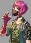 1girl backpack bag black_nails character_request collarbone commentary_request covered_mouth dead_by_daylight elbow_gloves eyebrows_visible_through_hair face_mask fingerless_gloves gloves green_jacket grey_background jacket looking_at_viewer mask minami_ikkei nail_polish pink_hair shirt short_hair short_sleeves solo upper_body